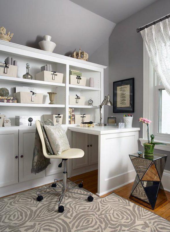 Серый цвет в оформлении домашнего офиса