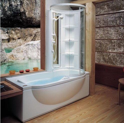 душевые кабины, объединенные с ванной;