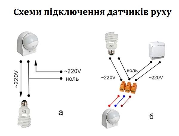 Схема підключення дачтчика руху