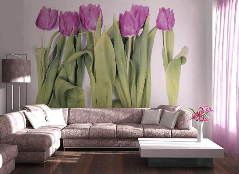 Фотошпалери з квітами у вітальні