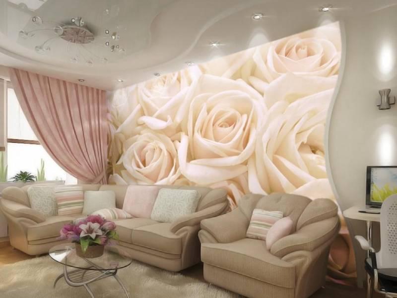 Фотошпалери в спальні фото троянди