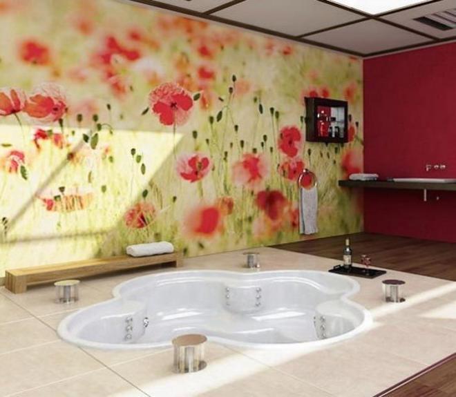 фотошпалери квіти в ванній