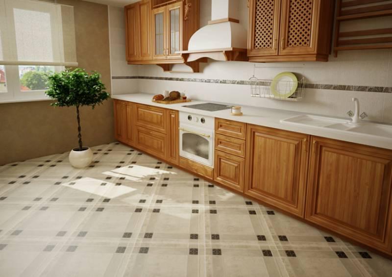Керамічна плитка в дизайні підлоги кухні