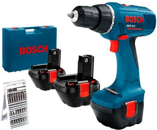 Шуруповерт аккумуляторный Bosch GSR 12-2 BD Professional+набор бит