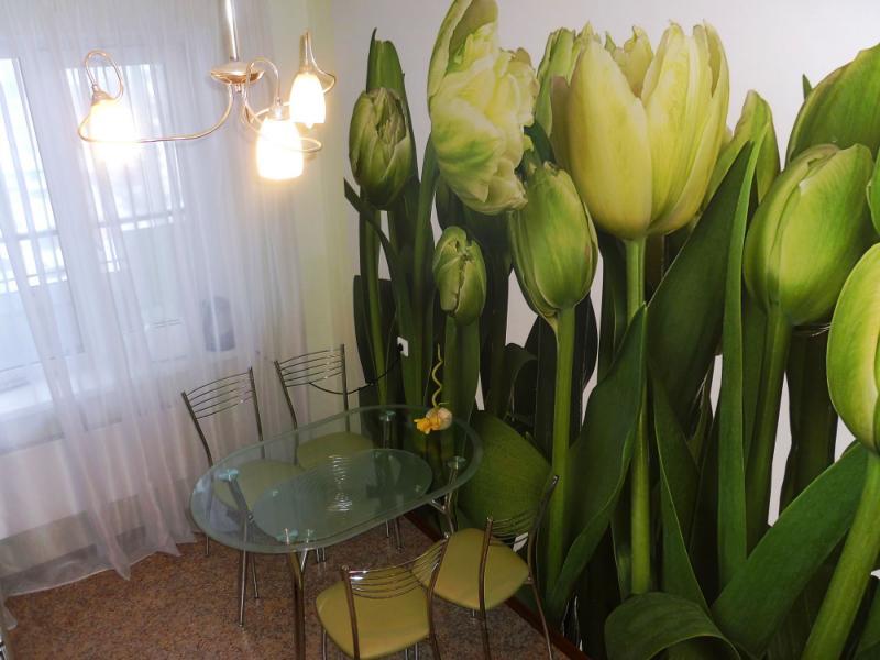 Інтер'єр кухні в зеленому кольорі з фотошпалерами