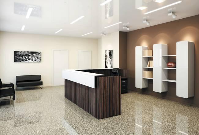 ресепшн в современном дизайне офиса