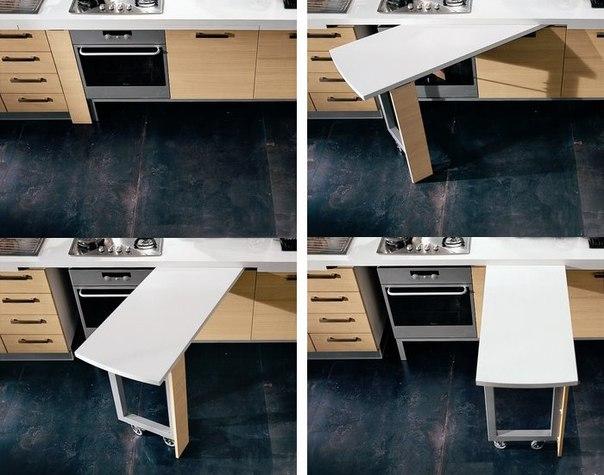выдвижной стол-трансформер для небольшой кухни