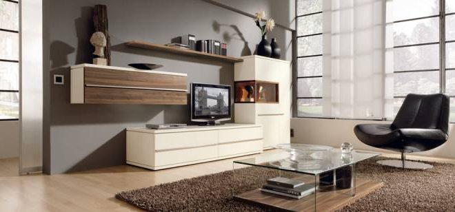 Обстановка мебелью гостиной в современном стиле
