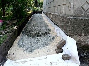 На гідроізоляцію укладають шар щебеню, глини і піску