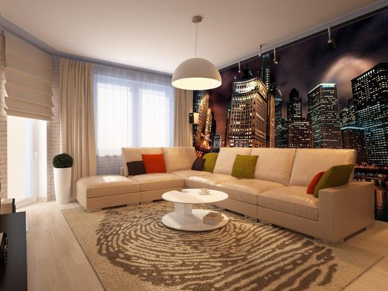 Дизайн гостиной с фотообоями города