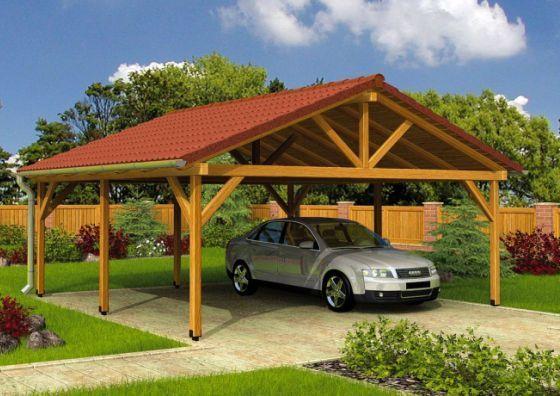 Деревянный навес для автомобиля на даче