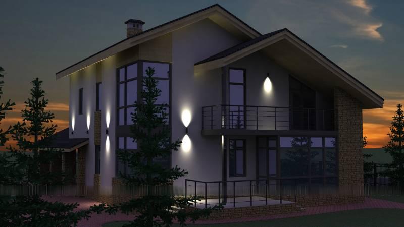 LED освещение для фасадов частного дома