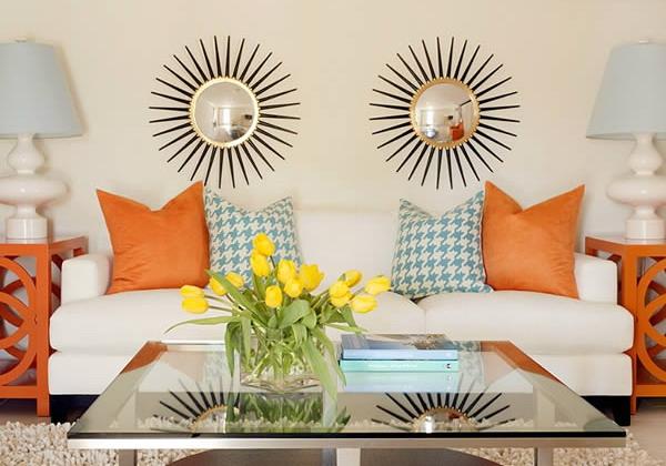 зеркало-солнце в интерьере