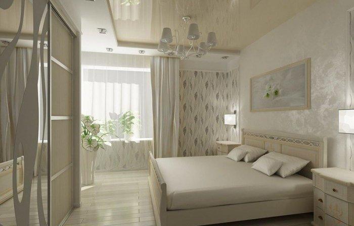 Дизайн натяжных потолков в спальне