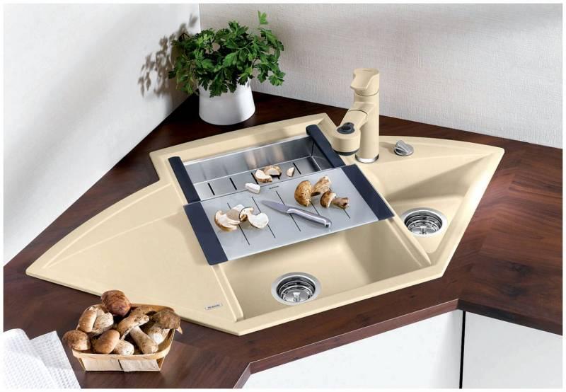 Угловая кухонная мойка из искусственного камня