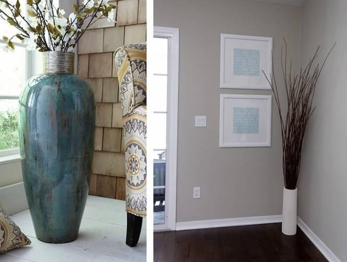 Задекорировать угол можно красивой напольной вазой