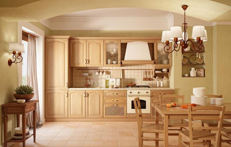 Какой бывает кухонная мебель из дубового массива